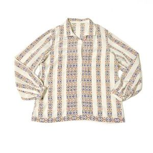 Vintage | Geometric Pleated Button Down Blouse